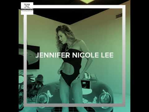 Jennifer Nicole Lee modeling swimsuit Miami week bikinis exotic car show room