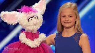 12 Year Old Ventriloquist Girl Gets Golden Buzzer on America's Got Talent! (2017)
