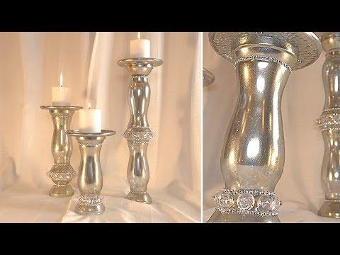 Shiny Silver W/Golden Sparkles Candle Holder Set - DT DIY