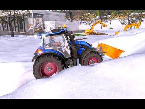 Spielzeug Traktor räumt Schnee weg ! Kinder Traktor