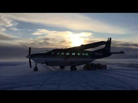 Cessna 208 Caravan Start Up and Snowy Shortfield Takeoff from Kongiganak, Alaska