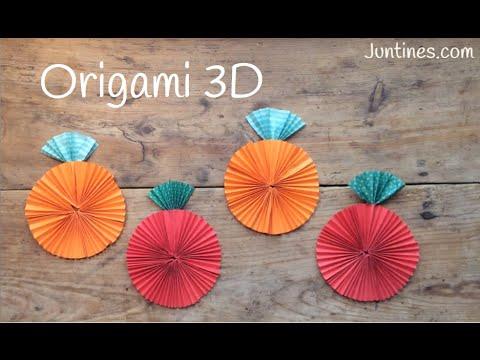 Origami fácil para niños, ¡una manzana que dan ganas de comérsela!