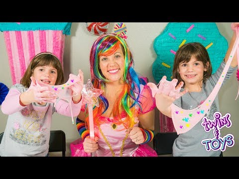 Twins KATE & LILLY make SLIME with Candy Princess Lollipop!! | Magic Play Time