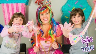 Twins KATE & LILLY make SLIME with Princess Lollipop!!
