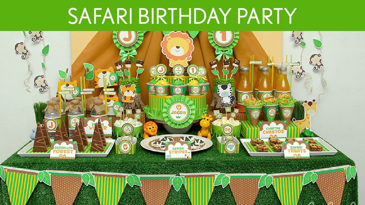 Safari birthday party ideas safari b47 youtube for Baby shower party junge