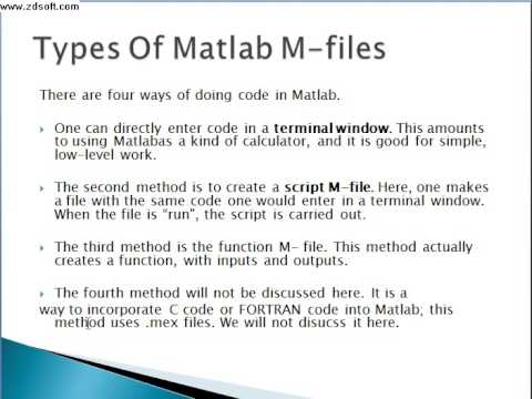 About MATLAB M files