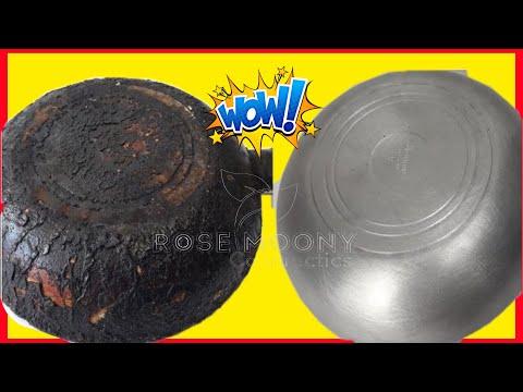 Nettoyez la poêle brûlée et polissez-la en 2 minutes😱ce mélange est magique, sans efforts  👆