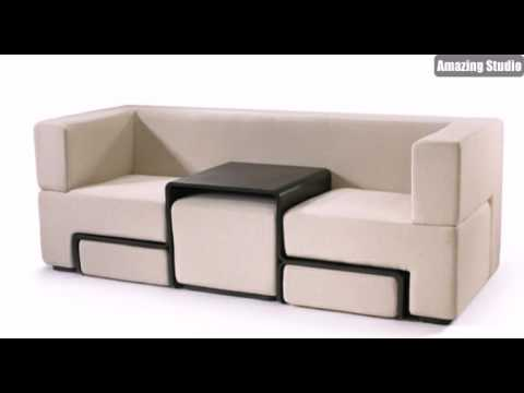 platzsparende m bel wei es sofa youtube. Black Bedroom Furniture Sets. Home Design Ideas