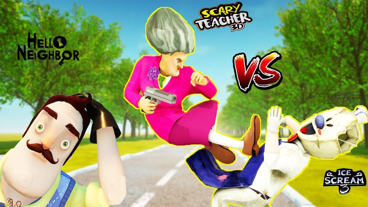FENA KAPIŞTILAR 😱  Hello Neighbor vs Scary Teacher vs Ice Scream