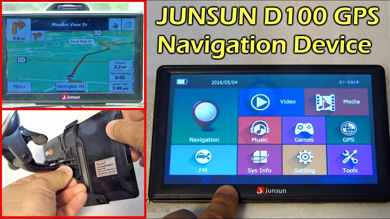Junsun d100 7 gps navigator with world map gearbest youtube gumiabroncs Images