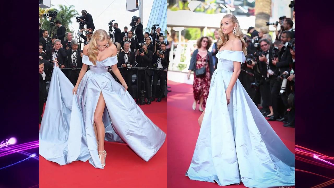 7bc6f3052822 Elsa Hosk Light Sky Blue Off-the-shoulder High Slit Ball Gown 2017 Cannes  Film Festival
