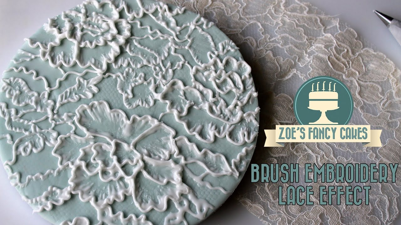 Royal Icing Lace Effect Brush Embroidery On A Cake Board