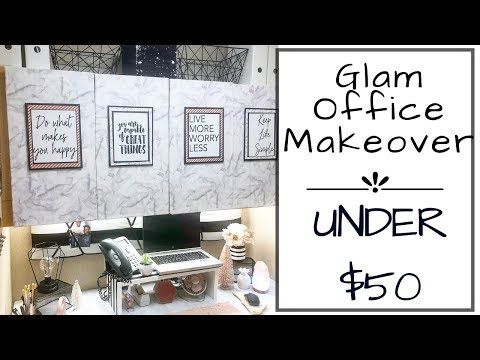 DIY SMALL OFFICE MAKEOVER | BUDGET | UNDER $50 | GLAM