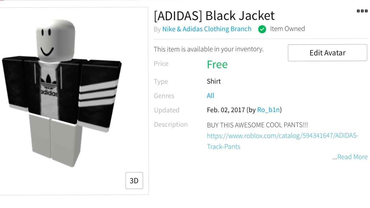 ROBLOX How to get the black adidas shirt for free | ROBLOX