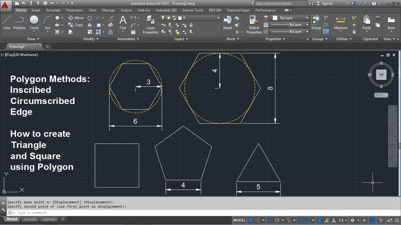 AutoCAD Polygon Command Tutorial Complete | Inscribed, Circumscribed, Edge,  Triangle, Square