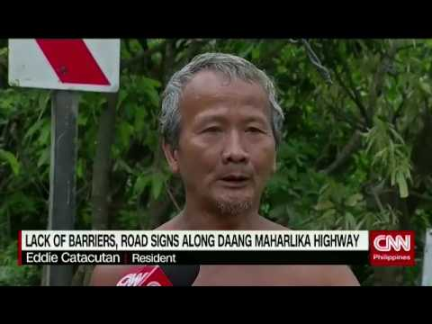 Lack of barriers, road signs along Daang Maharlika Highway