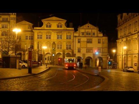 Lesser town in Prague at night timelapse video