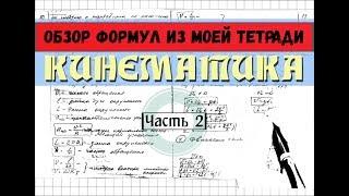 Формулы кинематики │Часть 2. Обзор моей тетради по физике