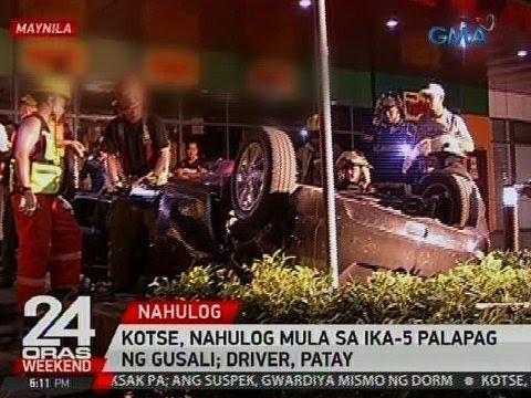 24 Oras: Kotse, nahulog mula sa ika-5 palapag ng gusali sa Maynila; driver, patay