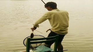 मछली पकड़ना | Hook Fishing in Pond | Unique fish Trapping System in  Village