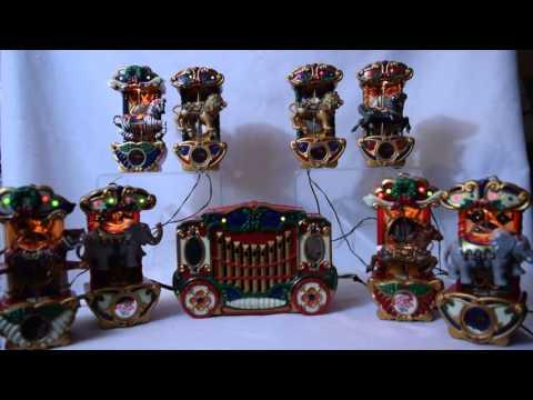 Mr. Christmas Holiday Carousel Animated Musical Carols Horses Elephants Tigers Reindeer