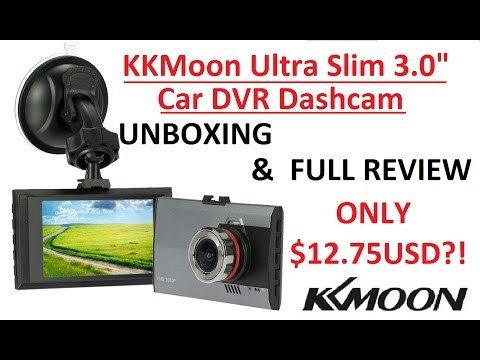 Unboxing & Full Review 4K : KKMOON Ultra Slim 3 Inch 1080P HD Car DashCam DVR  [SO CHEAP $12.75USD]