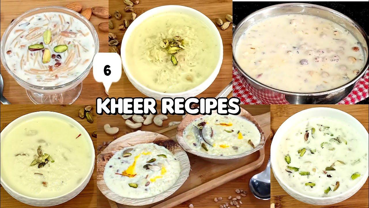 6 खीर रेसिपी | 6 kheer recipes | quick & easy milk kheer recipes | instant kheer recipes | Sweet