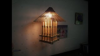 D.I.Y. Lamp from popsicle sticks & newspaper (Hanging)