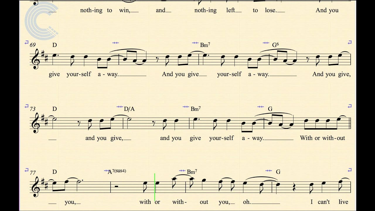 Violin with or without you u2 sheet music chords vocals violin with or without you u2 sheet music chords vocals youtube hexwebz Image collections