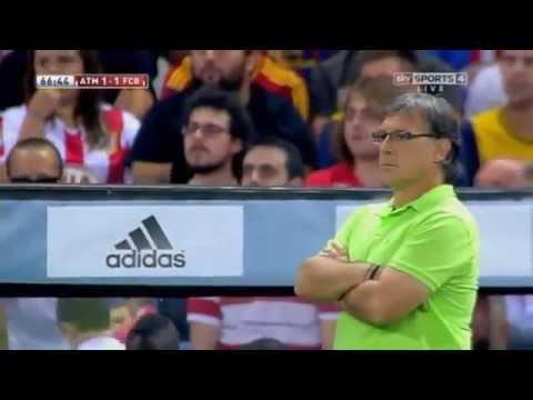 Tata Martino's Reaction to Neymar Goal   Atletico Madrid vs Barcelona, 21 08 13