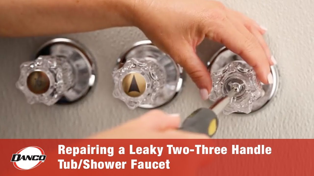repairing a leaky two three handle tub shower faucet