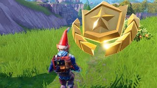"""""""Search between a Giant Rock Man, a Crowned Tomato and an Encircled Tree"""" Location - Fortnite"""