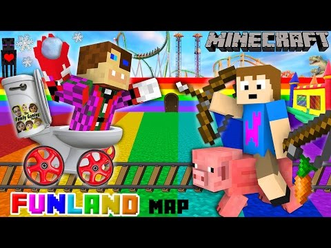 Thumbnail: Duddy & Chase go to FUNLAND 3! Minecraft Amusement Park Map (FGTEEV Theme Park Mod Gameplay)