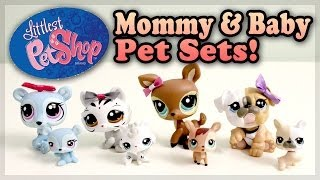 Littlest Pet Shop Lps : Mommy & Baby Set - Bear, Bulldog, Deer & White Tiger!