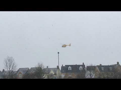 Air ambulance lands in Greenland Avenue Wymondham