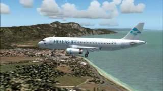 Hellas Jet A320 Landing at Kos, Greece. Fs2004