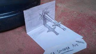 tutorial 3d art pencil, sword