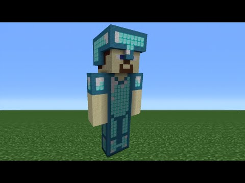 minecraft-tutorial:-how-to-make-a-diamond-amour-steve-statue