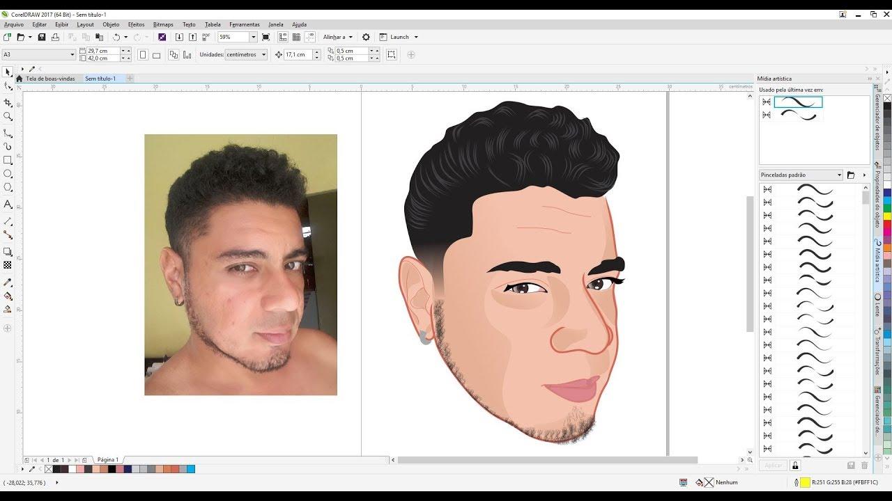 Transformar Foto Em Desenho Caricatura Logomarca Corel Draw Youtube
