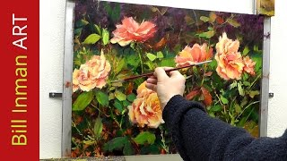 How to Paint Roses - Fast Motion - Oil Painting by Bill Inman