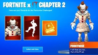 "Fortnite x IT Chapter 2 - CLAIM FREE ""IT 2"" ITEMS in Fortnite *PENNYWISE SKIN & REWARDS*"