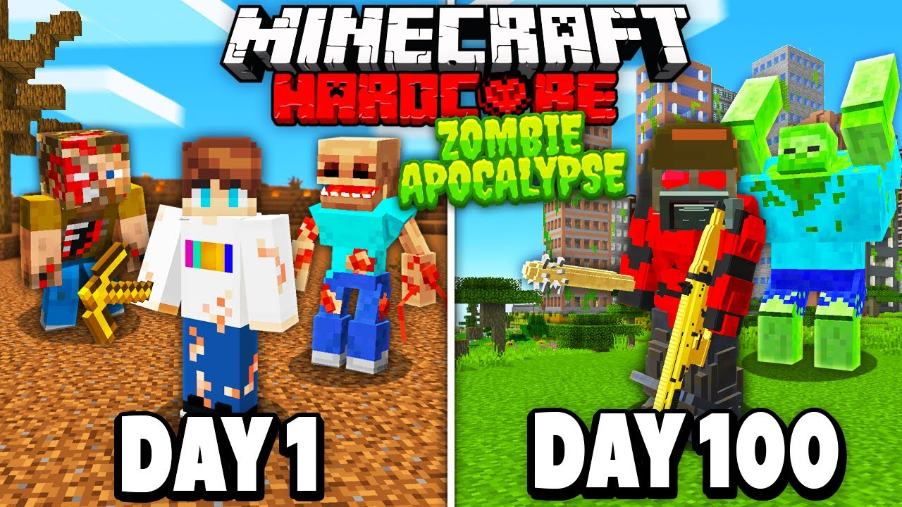 I Survived 100 Days in a ZOMBIE APOCALYPSE in Hardcore Minecraft...