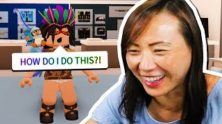my mom plays roblox for the first time