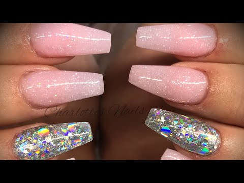 Acrylic nails - pink & silver design