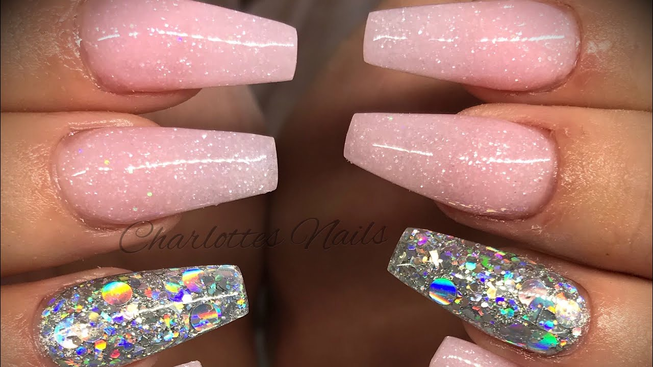 Acrylic nails - pink & silver design - YouTube
