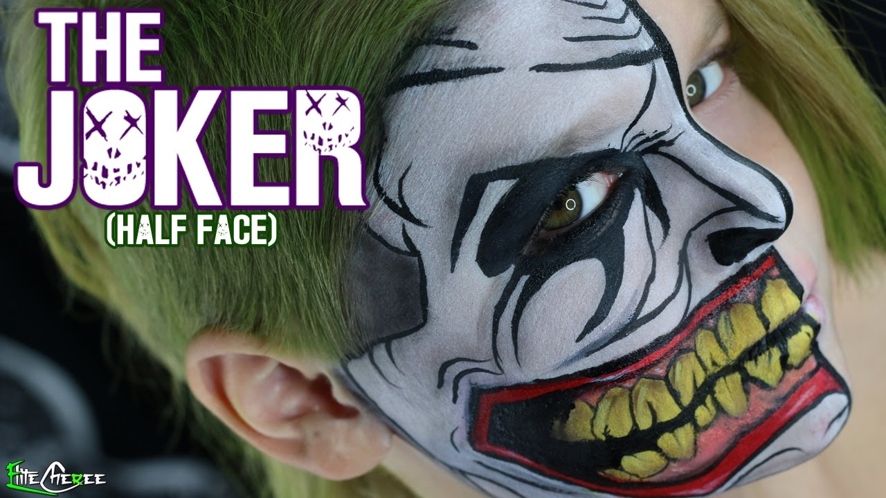 the joker face paint half face youtube. Black Bedroom Furniture Sets. Home Design Ideas