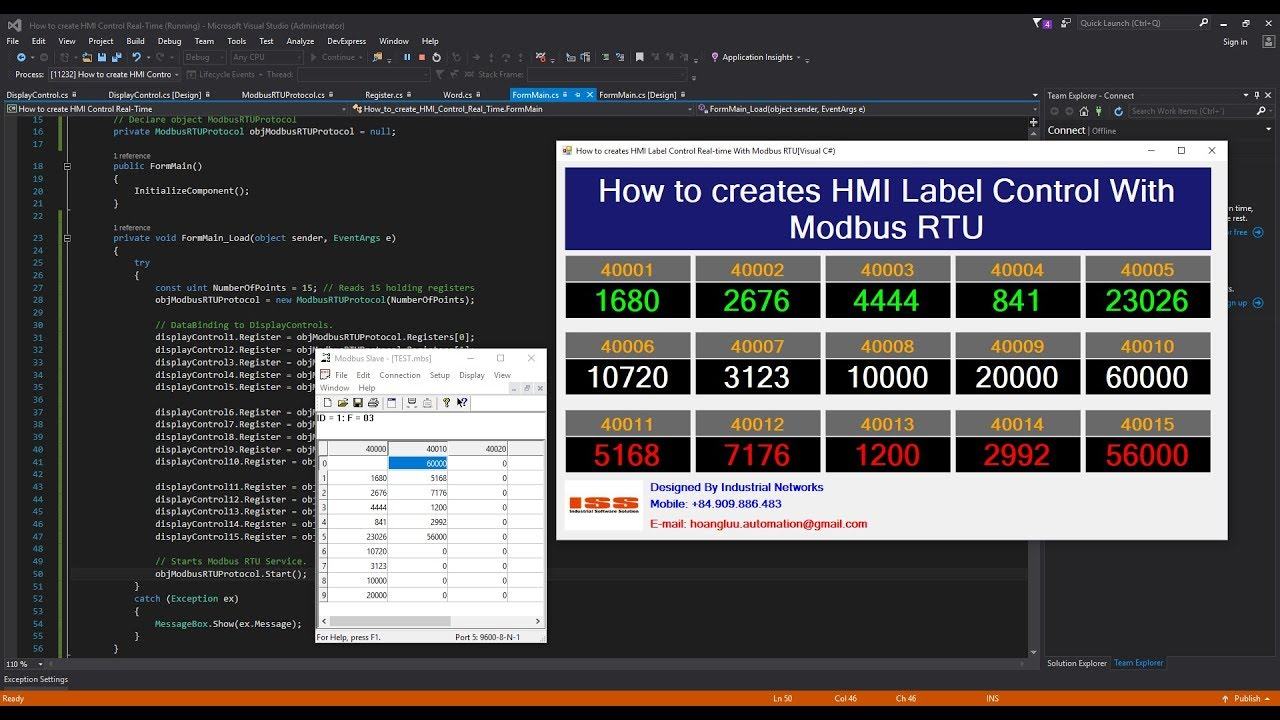 Modbus RTU Real-Time With Visual C# Application : How to creates HMI Label  Control