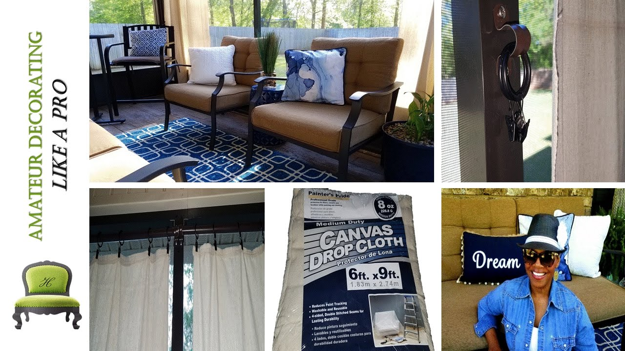 Drop Cloth Curtains Lowes Use Painter S Drop Cloths As Anchored Outdoor Curtains