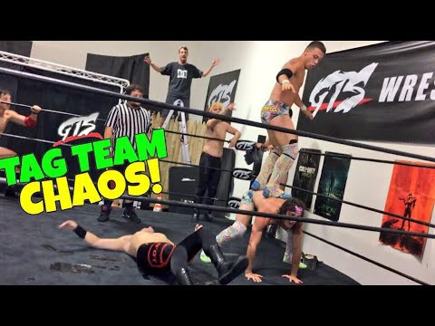 CRAZIEST FATAL 4 WAY TAG TEAM TITLE MATCH EVER! VIKING STEALS A MOTORCYCLE!
