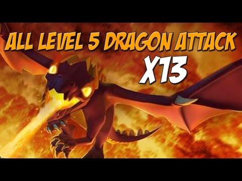 Epic All Level 5 Dragon Attack | 13 x Max Dragon Raids | Clash of Clans